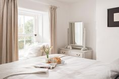 Restful and sumptuous, perfect spot for breakfast in bed. Window seats framed by the handmade linen curtains. Linen Curtains, Breakfast In Bed, Window Seats, Double Bedroom, Cornwall, Cottage, Windows, Handmade, Furniture