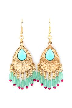 Mint/gold chandelier earrings