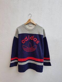 b9a643888 Vintage 90s Adidas Trefoil Color Block Run Dmc Style Big Logo Hip Hop  Sweater Shirt Size L