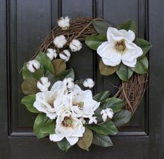 Monogram Wreath, Magnolia Wreath, Cotton Boll Wreath, Second Anniversary Gift, Year Round Wreath, Spring Wreath, Summer Wreath, Door Wreath by CrystalsCottageHome on Etsy https://www.etsy.com/listing/512814188/monogram-wreath-magnolia-wreath-cotton