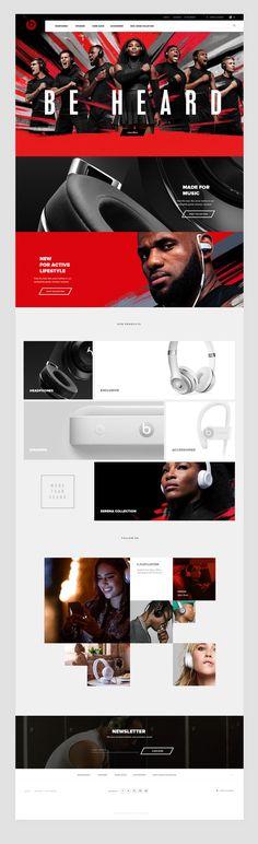 Beats by Dre website on Behance Webpage Layout, Web Layout, Layout Design, Website Layout Examples, Website Designs, Web Design Projects, Ui Web, Media Design, Interactive Design