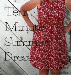 Thrift store dress refashion: DIY Ten Minute Summer Dress Tutorial. Make a dress with a too small waist/skirt fit by removing fabric from the MIDDLE not the hem.