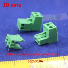Free shipping 10 sets ht5.08 2pin Right angle Terminal plug type 300V 10A 5.08mm pitch connector pcb screw terminal block