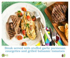 Free Recipe Friday: Steak served with stuffed garlic parmesan courgettes and grilled balsamic gourmet tomatoes Garlic Parmesan, Free Food, Steak, Grilling, Notes, Dishes, Bag, Ethnic Recipes, Gourmet