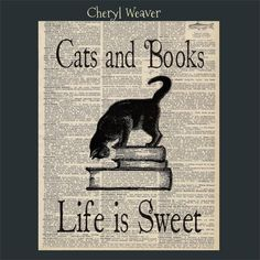 Vintage Dictionary Page Cats and Books Life Is by cherylweaver