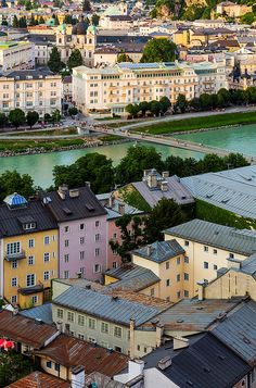 Baroque Pastels - view over the Baroque Old Town of Salzburg Old Town, a UNESCO World Heritage site.