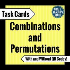 Combinations and Permutations Task Cards by Mrs E Teaches Math | Teachers Pay Teachers