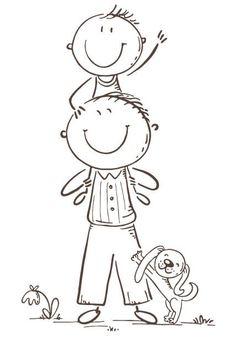Father and son having fun, cartoon vector illustration, black and… Father and son having fun, vector illustration – ilustração de. Art Drawings For Kids, Drawing For Kids, Easy Drawings, Bullet Journal Art, Bullet Journal Ideas Pages, Cute Coloring Pages, Coloring Books, Kindergarten Drawing, Drawing Cartoon Faces