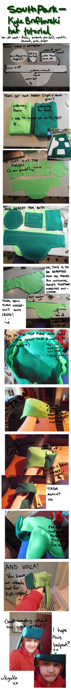 South Park Cosplay - Kyle Hat Tutorial by KyuketsukiKokoro.deviantart.com on @DeviantArt