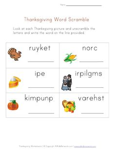 Thanksgiving Word Scramble Worksheet from All Kids Network - - Pinned by #PediaStaff.  Visit http://ht.ly/63sNt for all our pediatric therapy pins