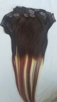 """22"""" New 2017 Balayage/Ombre , 200 Grams, 14pcs,28 Clips Clip In Human Hair Extensions #4/33/613 (Dark Brown,Dark Auburn,Platinum Blonde) $134.99 www.hairfauxyou.com"""