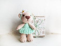 Miniature mint and beige cream bear /Tiny by LittleSweetCandyShop, $35.00