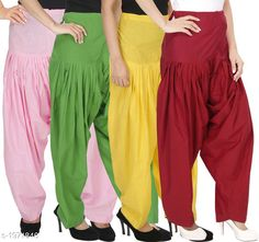Ethnic Bottomwear - Patiala Pants Women's Solid Cotton Patiala Pant ( Pack of 4 ) Fabric: Cotton Waist Size:  M- 30 in, L- 32 in, XL- 34 in , XXL - 36 in Length: Up to 39 in Type: Stitched Description: It has 4 Pieces Of Patiala Pant Pattern: Solid Sizes Available: Free Size, S, M, L, XL, XXL, XXXL, 4XL *Proof of Safe Delivery! Click to know on Safety Standards of Delivery Partners- https://ltl.sh/y_nZrAV3  Catalog Rating: ★4.2 (5909)  Catalog Name: Eva Women's Solid Cotton Patiala Pants Combo Vol 17 CatalogID_260422 C74-SC1018 Code: 984-1971846-