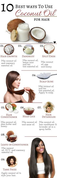 Coconut oil for your hair. http://alluringsoul.com/10-...