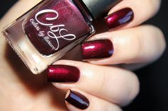 Colors by llarowe Summer 2016 Cremes, Jellies & Shimmers - Hot Summer Nights - a blackened burgundy creme base with intense red shimmer. Use top coat to bring out this gorgeous shimmer. Looks amazing with that summer tan! Swatch by @fashionpolish.