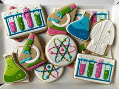 ideas for cookies decorated birthday baking Super Cookies, Fancy Cookies, Iced Cookies, Royal Icing Cookies, Cookies Et Biscuits, Baking Cookies, Cake Cookies, Science Cake, Science Party