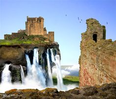 Waterfall Castle By Candymck.  5th Place Entry In Scottish Ruins Photo Effects Contest.