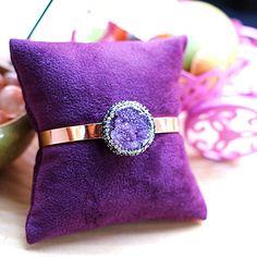 Custom Jewelry Design, Unique Jewelry, Bangle Bracelets, Bangles, Raw Amethyst, Minimalist, Copper, Brass, Bronze