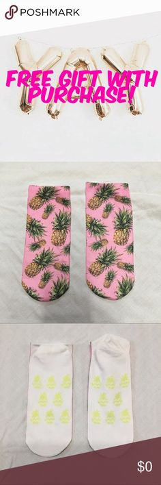 FREE GIFT! Super cute pink socks with pineapple print. Brand new and never worn. Free with purchase of $25 or more! Still available for sale, listed in my closet. Happy Poshing! Wildfox Accessories