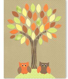 Owl Nursery Art Woodland Decor Gender Neutral Boy's Room Girl's Room Green Brown Yellow Orange Forest Decor Baby Shower Nature Children Kids by SweetPeaNurseryArt on Etsy Forest Decor, Woodland Decor, Owl Nursery, Nursery Ideas, Mural Wall Art, Murals, Kids Room Design, Cool Baby Stuff, Green And Brown