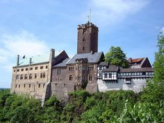 Wartburg Castle in Eisenach, Germany, where Martin Luther hid out after his excommunication by Pope Leo X  and translated the New Testament into German. Unesco World Heritage Site.