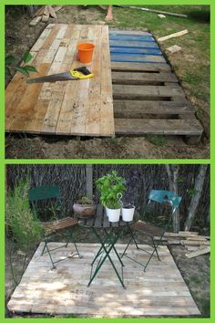 a few old wooden pallets and cut them into proper sizes to build this simple and no-money backyard deck.Take a few old wooden pallets and cut them into proper sizes to build this simple and no-money backyard deck. Recycled Pallets, Wooden Pallets, Pallet Wood, Deck From Pallets, Diy Wood, 1001 Pallets, Recycled Wood, Backyard Projects, Outdoor Projects