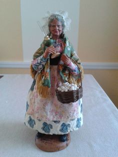 """Vintage French Provence Terracotta Dressed Santon """"Old woman with lamp"""""""