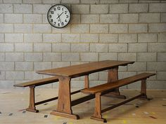 Oak refectory table with a pair of matching benches.