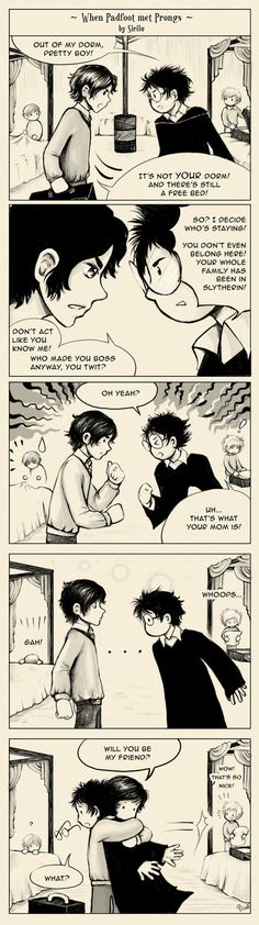 When Padfoot met Prongs by Sirilu. They actually met on the train but this is sweet. :)