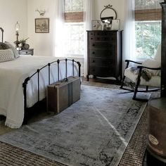 One of the calmest places in our house is our bedroom. I remember as a young girl being drawn to my aunt's bedroom. She lived with us as a… Farmhouse Bedroom Farmhouse Bedroom Decor, Cozy Bedroom, Bedroom Apartment, Modern Bedroom, Bedroom Ideas, Bedroom Designs, Bedroom Rugs, Bedroom Doors, Master Bedrooms
