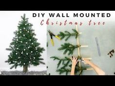 Space Saving Christmas Tree - - Christmas only comes around once a year and if you have a small space it doesn't exactly help with decorating. The home we currently live in has plenty of space for a tree however, there. Christmas Tree Quotes, Types Of Christmas Trees, Wall Christmas Tree, Noel Christmas, Xmas Tree, Simple Christmas, Christmas Tree Ideas For Small Spaces, Unusual Christmas Trees, Christmas Background