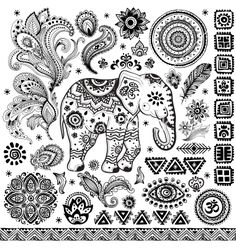 Tribal vintage ethnic pattern set vector - by transia on VectorStock®