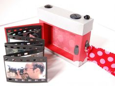 make a little camera and store photos on film strip! such a cute idea