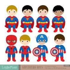 18 Boys Superhero Costumes Clipart Superheroes by LittleMoss