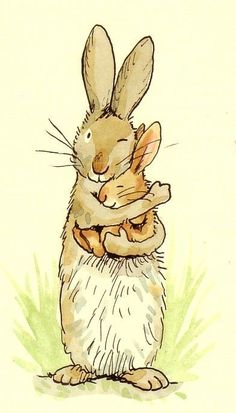 """I've got you babe"" cute bunny illustration by Anita Jeram Art And Illustration, Painting Illustrations, Rabbit Illustration, Animals Watercolor, Watercolour, Rabbit Art, Bunny Rabbit, Bunny Art, Bunny Drawing"