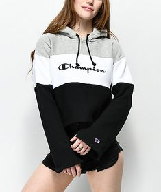 Bring your signature sense of style to life with the Reverse Weave black, white and grey crop hoodie from Champion. With a special Reverse Weave construction that maintains its shape over time, this plush, fleece-lined pullover sweatshirt has a color blo Sweatshirt Outfit, Pullover Hoodie, Sweater Hoodie, Hoody, Champion Hoodie Women, Champion Sweatshirt, Champion Clothing, Casual Outfits, Teen Fashion