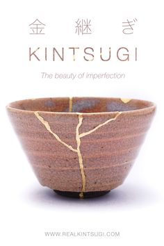 """Kintsugi in Japanese literally means """"fixing with gold"""" and it represents the beauty of imperfections. Kintsugi is the idea of embracing the flaws and imperfections of something that was once broken to get an even stronger and more precious piece of art. Kintsugi represents the strength and effort behind every single scar and the ability to recover from a trauma into a new form that is even stronger and more precious than before. Find more about Kintsugi on RealKintsugi #kintsugi #gold Kintsugi, Japanese Pottery, Trauma, Effort, Restoration, Im Not Perfect, Art Pieces, Strength, Flaws"""