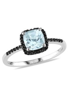 Different!  ICE.COM 1/7ct Black Diamond and 4/5ct Aquamarine Ring