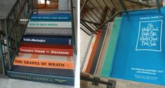OK...they may not be actual books, but these stairs are painted like books. Very fun!