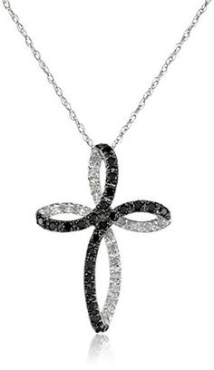 #carbonado 10k White Gold Cross Black and White Diamond Pendant Necklace (1/5 cttw, I-J Color, I2-I3 Clarity), 18'' by Amazon Curated Collection - See more at: http://blackdiamondgemstone.com/jewelry/necklaces/pendants/10k-white-gold-cross-black-and-white-diamond-pendant-necklace-15-cttw-ij-color-i2i3-clarity-183939-com/#!prettyPhoto