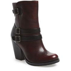 """Kork-Ease 'Anki' Moto Boot, 3 1/2"""" heel ($220) ❤ liked on Polyvore featuring shoes, boots, ankle booties, ankle boots, short boots, leather biker boots, chunky heel booties, leather booties and biker boots"""
