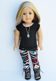 American Girl Clothes - Black Lace Cortina Top, Abstract Print Leggings, Outfit