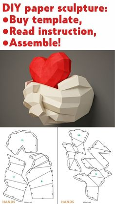 Paper craft Hands with Heart Papercraft wall decor DIY gift love valentines day paper model sculpture pdf template kit pepakura - Sculpture - Print the sulpture yourself - DIY paper sculpture Hands & Heart Papercraft template 3d Paper Crafts, Paper Toys, Paper Crafting, Diy And Crafts, Fall Crafts, Diy Gifts Love, Diy Love, Papier Diy, 3d Wall Decor