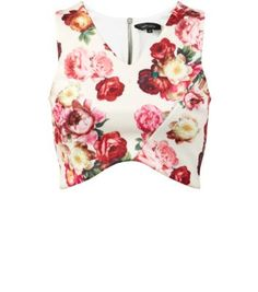 White Scuba Floral Print Wrap Crop Top