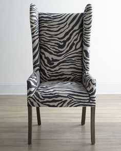 """Kayla"" Zebra-Print Wingback Chair at Neiman Marcus."