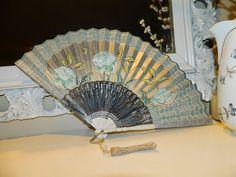 Antique Vintage Hand Painted Paper Fan Teal Silver w Magnolia? Flower Decorative