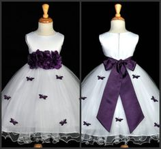 Discount purple butterfly flower girl dresses White and Purple 2014 Cheap Flower Girls' Dresses Ball Gown Crew Ankle-Length Butterflies Girl's Pageant Dress Girls Wedding Party Dress