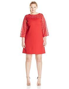 Sandra Darren Women's Plus-Size 3/4 Bell Sleeve Scuba Dress with Lace, Red
