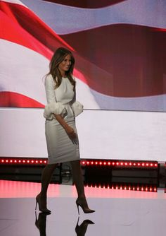 Pin for Later: Joyce Beatty Swooped Into the DNC Wearing Melania Trump's Dress — Like a Boss Melania Trump Wearing the White Roksanda Dress at the RNC