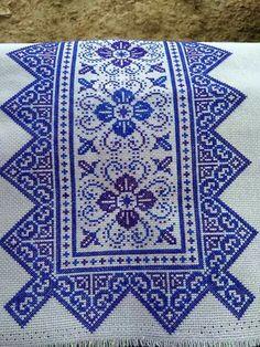 """Blue sev"" Cross Stitch Borders, Cross Stitch Designs, Cross Stitching, Cross Stitch Embroidery, Embroidery Patterns, Hand Embroidery, Cross Stitch Patterns, Sewing Patterns, Palestinian Embroidery"